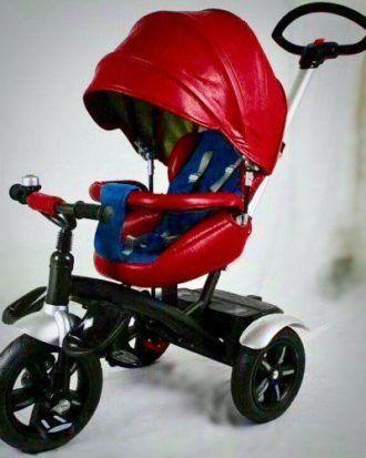 Carucior tricicleta din piele multifunctional 3 in 1 LIAN JOY – culoarea rosu
