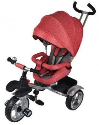 Carucior tricicleta textil multifunctional 3 in 1 LIAN JOY – culoarea rosu