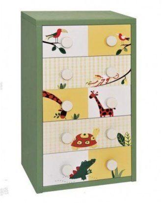 Comoda din lemn 5 sertare Nature – culoarea verde