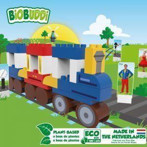 Cuburi din plastic vegetal Juf roos- Train BB-0114