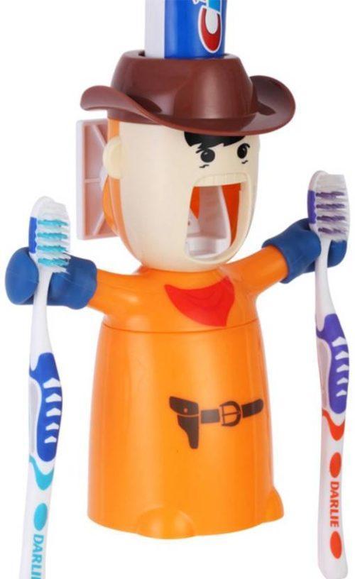 Dispenser-suport pentru periute si pasta de dinti ECOCO – culoarea portocaliu