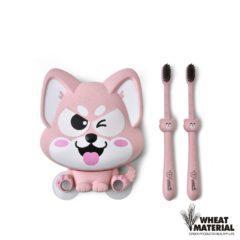 Set suport si periuta dinti Lucky Dog – culoarea roz