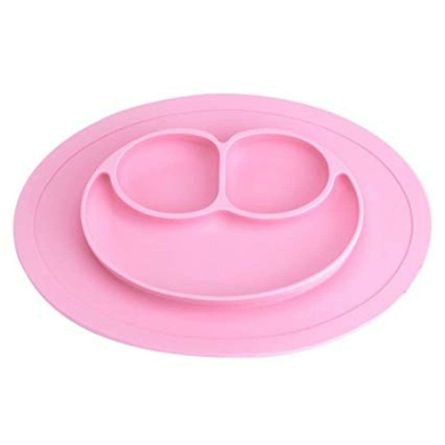 Farfurie compartimentata din silicon - culoarea roz