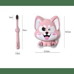 Set suport si periuta dinti Lucky Dog – culoarea crem