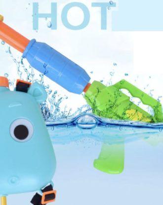 Pistol cu apa si ghiozdanel animalute – culoarea albastru