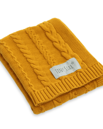 Paturica tricotata din bumbac – culoarea galben