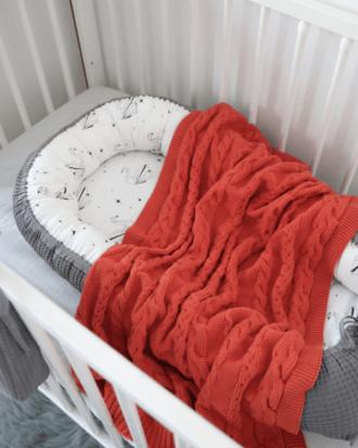 Paturica tricotata din bumbac -culoarea rosu