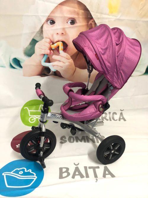 Tricicleta textil multifunctionala LIAN JOY culoarea roz resigilat 9