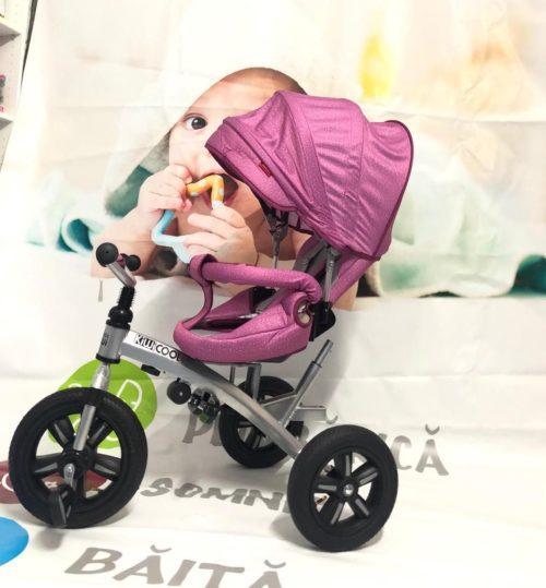 Tricicleta textil multifunctionala LIAN JOY culoarea roz resigilat 8