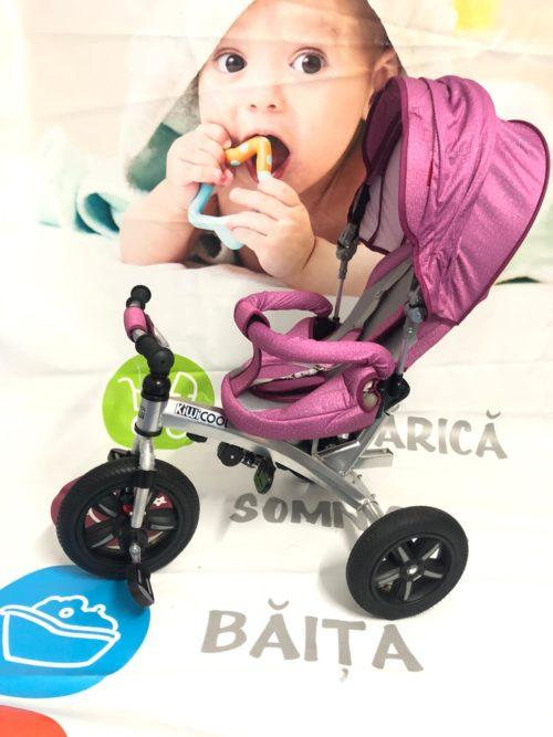 Tricicleta textil multifunctionala LIAN JOY culoarea roz resigilat 7