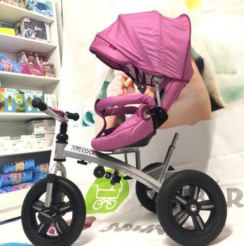 Tricicleta textil multifunctionala LIAN JOY culoarea roz resigilat 5
