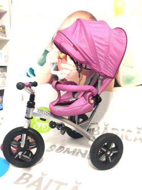 Tricicleta textil multifunctionala LIAN JOY culoarea roz resigilat 1