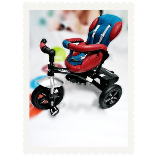 Tricicleta multifunctionala din piele ecologica LIAN JOY | rosu si albastru | Produs resigilat 1