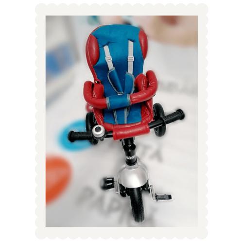 Tricicleta multifunctionala din piele ecologica LIAN JOY | rosu si albastru | Produs resigilat 2