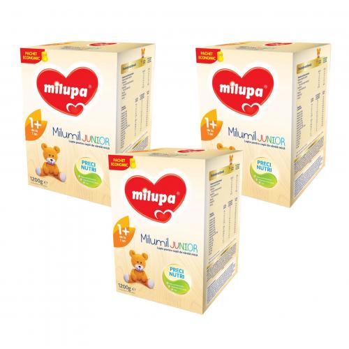 Pachet 3 x Lapte praf Milupa Milumil Junior 1+, 1200g 1